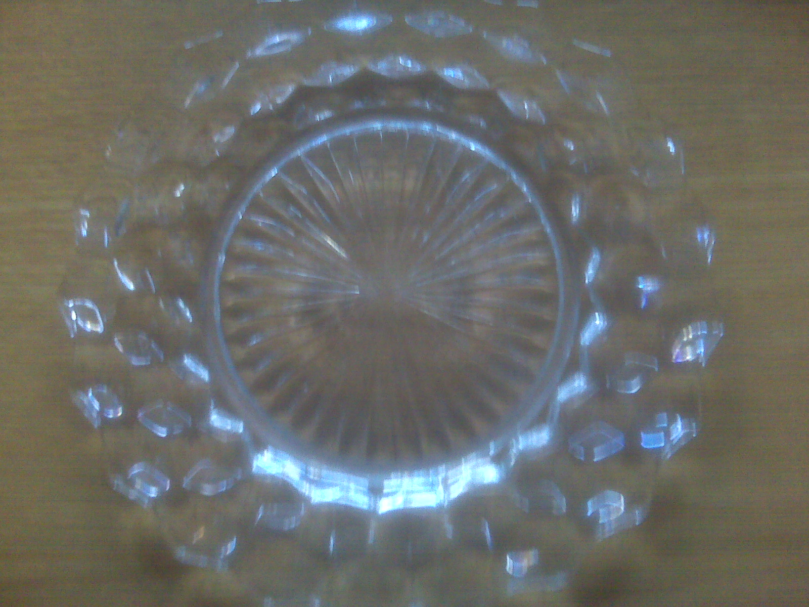 "From Frana: Fostoria crystal plate. ""My grandmother was a schoolteacher in Oklahoma from 1920 til 1940 and the first thing she bought with her very own pay check was a 'starter' set of this crystal."""