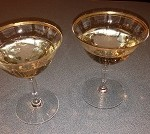 1928 gold-rimmed champagne glasses