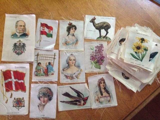 from Lucia: Zira cigarette silk collectibles from 5-cent cigarette packs (made into quilts, pillow covers, clothes, etc.)