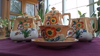 """from Pat: coffee set given to my mother before her wedding in 1937. It held a place of honor in her china cabinet. The bottoms of the cups, plates, and saucers say """"hand painted Japan."""""""