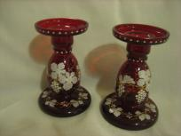 """from Alice: Austrian glass candlesticks. """"They were given to me for Christmas in 1938 or 1939. I had admired them, knowing full well that in those Depression times I could never spend the $60. When Christmas came, there they were, from """"Mom"""" (my mother-in-law)...... heart was full of thanks."""""""